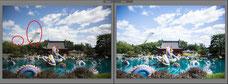 Avant après d'une photo du jardin japonais au Jardin Botanique avec en fond le stade Olympique prise à Montréal par Marie Deschene