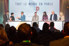 Photographer for the annual conference of the Association of General Managers of the Desjardins ADGC caisses of a panel discussion with Manon Goudreault and Guy Cormier at Fairmont Mont-Tremblant by Marie Deschene Pakolla