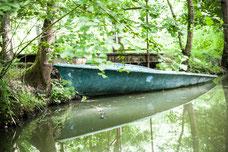 La venise verte en été avec des arbres aux feuilles vertes et une barque bleue Marais Poitevin Région Nouvelle-Aquitaine France Europe photo par Marie Deschene photographe Pakolla