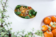 Cooked dish made of sweet potatoes and spinach for Julie Doan nutritionist in Montreal photo by Marie Deschene
