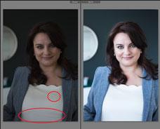 Avant après d'une photo de portrait corporatif professionnel d'une femme d'affaires prise à Montréal par Marie Deschene