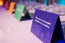 Détail sur un sondage adressé aux adhérents de l'Association des Directrices et des Directeurs Généraux de Caisses Desjardins ADGC durant le cocktail du congrès annuel photo de Marie Deschene pour Pakolla