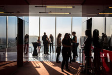 A group of influencers at the Place Ville Marie Summit during the evening organized by Tourisme Montréal to promote the city as an essential tourist destination photo taken by Marie Deschene photographer for Pakolla