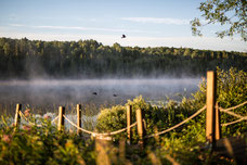 Photo of the mist on the lake at sunrise in the countryside around Rimouski taken by Marie Deschene photographer for Pakolla