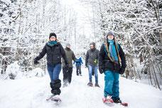 Photo d'une équipe qui fait une randonnée en raquettes dans le bois en hiver pendant un team-building dans les cantons de l'Est au Québec pour Évasions Canadiana par Marie Deschene photographe pour Pakolla