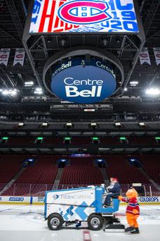 Youppi la mascotte des Canadiens est accroché à la Zamboni pendant que la machine répare la glace avec la fille d'une employée de Tourisme Montréal au Centre Bell à Montréal photo prise par Marie Deschene photographe pour Pakolla