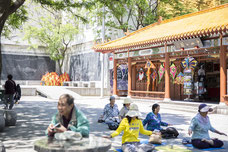Meditation in Chinatown in Montreal by residents during the summer photo taken by Marie Deschene photographer for Tourisme Montréal