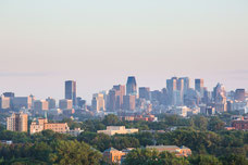 Skyline of downtown Montreal during sunset during the summer photo taken by Marie Deschene for Pakolla