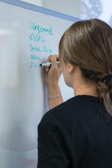 Une femme écrit au tableau blanc des idées pendant un atelier sur le leadership organisé par Profession'Elle entreprise de Montréal photo prise par Marie Deschene pour Pakolla