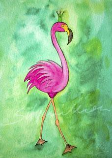 Illustration Flamingo mit Krone auf grünem Hintergrund, Aquarellfarben