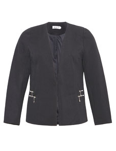 Blazer-Jacke in Waffelpiqué schwarz für Mollige , Damenhose Große Größen