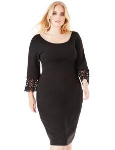elegantes Kleid in großen Größen , schwarzes Kleid in übergröße