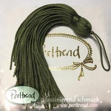 www.perltrend.com Perltrend Schweiz Luzern Perlen Beads Crystals Edelsteine Schmuckzubehör Schmuckverarbeitung Verarbeitungsmaterial basteln Dekoration Quasten grün olivgrün