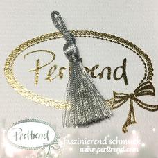 www.perltrend.com Perltrend Schweiz Luzern Perlen Beads Crystals Edelsteine Schmuckzubehör Schmuckverarbeitung Verarbeitungsmaterial basteln Dekoration Quasten silber silberfarben glänzend silbern