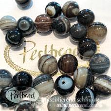 www.perltrend.com Edelsteine Gemstones Steine Perlen Heilsteine Schmuck Schmuckdesign Perltrend Luzern Schweiz Onlineshop  Sardonyx schwarz braun grau weiss rund 12 mm