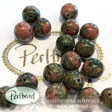 www.perltrend.com Edelsteine Gemstones Steine Perlen Heilsteine Schmuck Schmuckdesign Perltrend Luzern Schweiz Onlineshop Perle Schmuckstein  Edelsteinperlen Edelsteine Gemstone gemstones Unakit grün rot 12 mm