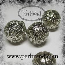 www.perltrend.com Perlen Silberfarben filigran Metall silber