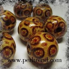 www.perltrend.com Holz Perlen gemustert Dekoration Schmuck Design Natur süss