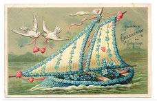 Alte Postkarte Schiff mit Blumen, Tauben mit Herzen