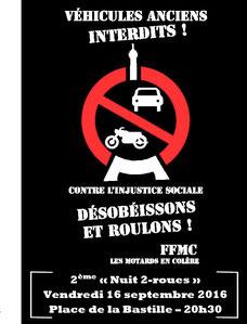 Affiche 2ème nuit 2-roues à Paris, le vendredi 16 septembre 2016