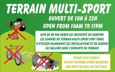 panneau en Français et Anglais pour Terrain de multi-sport avec horaires et règlementation