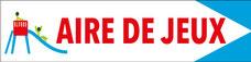 panneau directionnel blanc avec pictogramme et texte aire de jeux