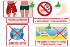 Panneaux et adhésifs avec les interdictions piscine avec caleçons interdit, slip de bain obligatoire, chaussures interdits et pieds nu obligatoire, pas de couches dans la piscine et interdit de réservées les transats