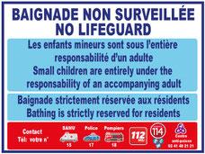 Panneaux et adhésifs baignade non surveille en 2 langues avec pictogrammes  et numéros d'urgences