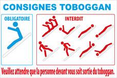 Panneau avec pictogrammes consignes toboggan