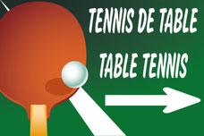panneau avec raquette ping-pong en Français et Anglais