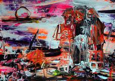 "OLIVER KROPF, ""Friends"", Acryl auf Karton, 50 x 70 cm, 2013 / 14"