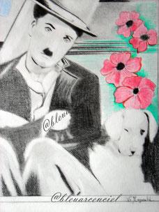 2012 Dessin aux crayons sur feuille canson 24/32 cm, d'après photo de Charles Chaplin