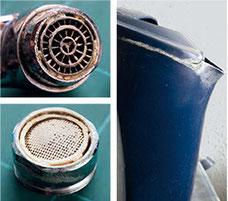 Ohne Einsatz des Calcit-Generators entstehen starke Verkalkungen an Perlatoren und Wasserkocher
