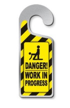 Metalen deurhanger Danger work in progress € 3,95