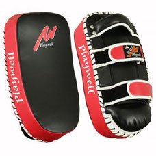 LEATHER CURVED THAI KICK PAD BLACK/RED for boxing and martial arts exercise
