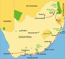 Karte Südafrika Kleingruppenreise 13 Tage