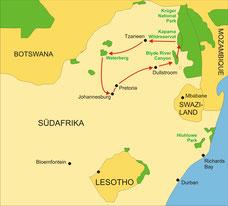 Karte Südafrika Reise Individuell 8 Tage - Johannesburg bis zum Krügerpark