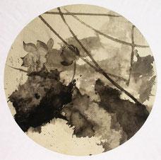 镜花缘3 ROUNDNESS.3 72X72CM 纸本水墨与矿物色 INK & MINERAL COLOR ON PAPER 2006 (收藏于上海 COLLECTED IN SHANGHAI)