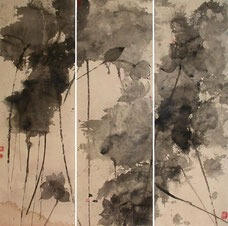 午后 AFTERNOON 120X120CM 纸本水墨与矿物色 INK & MINERAL COLOR ON PAPER 2006 (收藏于香港 COLLECTED IN HONG KONG)
