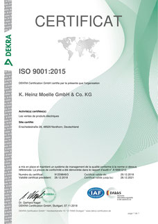 Certificat ISO 9001 (french)