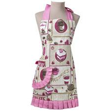 elegante Cupcake Schürze Rosa mti Rüschen