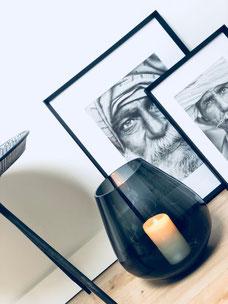 vase noir, bougeoir noir transparent, vase noir transparent, pot noir, pot noir transparent, cadre marocain, cadre visage, cadre noir et blanc