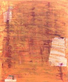 「峠」 綿布にアクリル絵具,コラージュ    73×60㎝(F20号)
