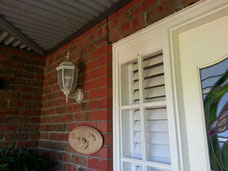 DIY Plantation Shutters at entry