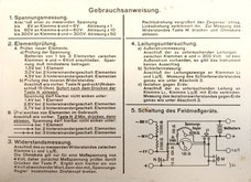 Operations manual of the Feldmesskästchen  inside the cover.