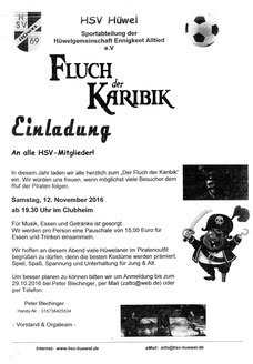 Sa, 12.11. 19.30Uhr Clubheim