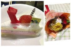 お花&ケーキありがとう♪