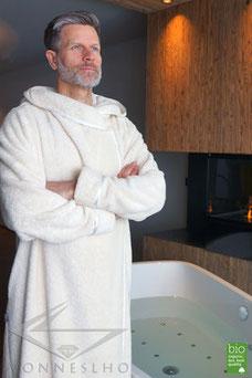 Bademantel Herren Sauna extra lang Kapuze modern