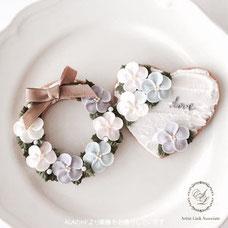 ALAアイシングクッキー作品例、花やリース、ハートデザイン
