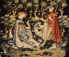 Artiste anonyme, L'Offrande du coeur, 1400-1410. Source : Wikipedia, Domaine public.